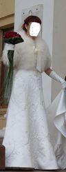 свадебное платье,  шубка и перчатки